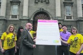 Former Minister for Eduction, Ruairi Quinn signing the USI Election Pledge in February 2011 prior to the 2011 General Election. Photo: Eduction Matters